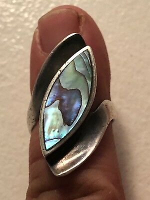 Antique Sterling Silver .925 With Abalone Shell Inlay Womans Ring, Size 6