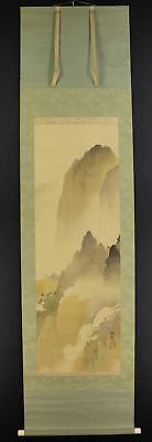 "JAPANESE HANGING SCROLL ART Painting Scenery ""Mountains"" Asian antique  #E4798"