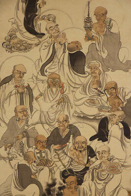 "JAPANESE HANGING SCROLL ART Painting ""Sixteen Arhats"" Asian antique  #E4810"