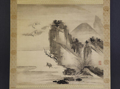 "JAPANESE HANGING SCROLL ART Painting ""Crane and Turtle"" Asian antique  #E4800"