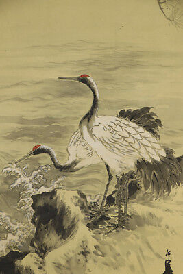 "JAPANESE HANGING SCROLL ART Painting ""Cranes"" Asian antique  #E4813"