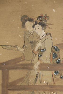 "JAPANESE HANGING SCROLL ART Painting ""Beauties"" Asian antique  #E4802"