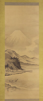 "JAPANESE HANGING SCROLL ART Painting Scenery ""Mt. Fuji"" Asian antique  #E4814"