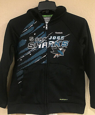 San Jose Sharks Youth Full Zip Performance Hoodie - Reebook Center ICE PlayDry
