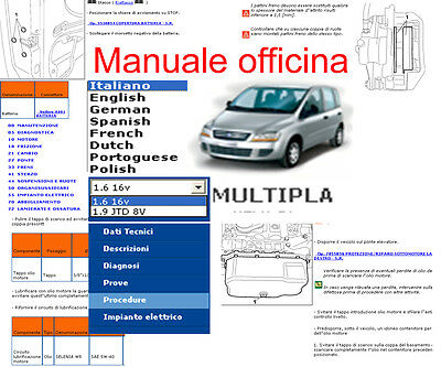 MANUALE OFFICINA Fiat Multipla WORKSHOP SERVICE SOFTWARE ELEARN per Windows