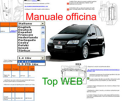 MANUALE OFFICINA Fiat Idea WORKSHOP MANUAL SERVICE SOFTWARE ELEARN