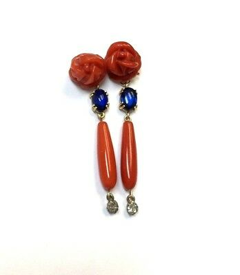6c1bfcf03 Fine Deep Salmon Red Coral Diamond and Kyanite 14K Yellow Gold Drop Earrings