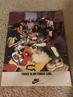 """RARE 1979 NIKE WAFFLE LDV Poster Print Ad Running Shoe """"THERE IS NO FINISH LINE"""""""