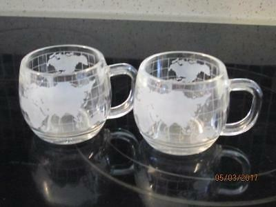 2 Vintage NESTLE NESCAFE Etched Clear Glass World Globe Map Coffee Mugs/Cups EUC