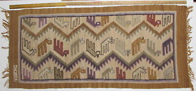 "Peruvian Textile Wall Hanging  Raquel's Collection  Signed ""ONCEBAY""  54"" X 24"""