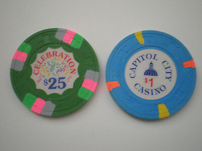 $25 Celebration Casino Chip And $1 Capitol City Casino Chip - Lot Of Two Chips