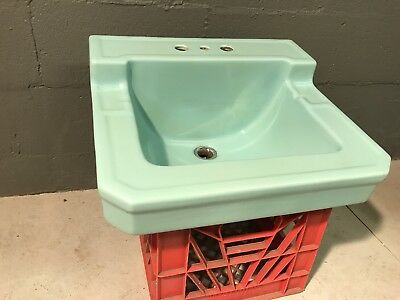 Vintage Teal Turquoise Rheem Richmond Bathroom Sink Wall Mounted 54 MID CENTURY