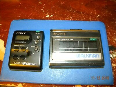 2 Sony Walkman  Wm-41 Cassette Player And Srf-M33 Fm/am
