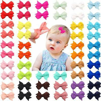 "50 Pieces  Fully Lined Hair Pins Tiny 2"" Hair Bows Alligator Clips for Baby Girl"