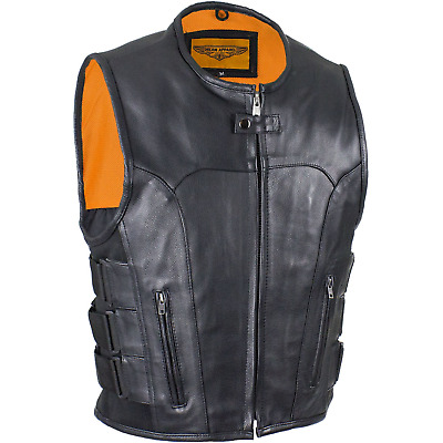 Men Leather Motorcycle Club Vest Gladiator Outlaw Biker Concealed Carry 40-62