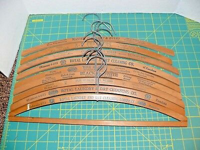 9 Vintage Advertising Wood Coat Cloth Hangers Pasadena DYE WORKERS & CLEANERS
