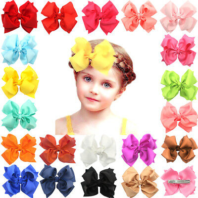 "20 Pcs Boutique Girls Kids Children 4""Grosgrain Ribbon Hair Bows Alligator Clips"