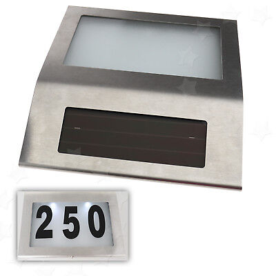 Solar Powered LED House Address Signs Wall Plaque Doorplate Number Light White