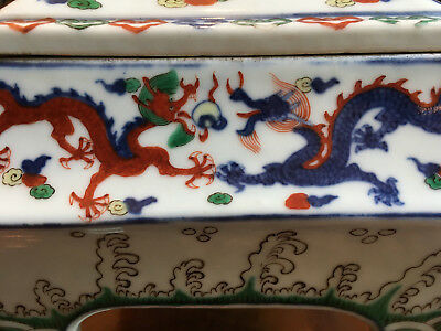 A Rare and Important Chinese Ming Dynasty Wucai Dragon Censer with Cover, Marked