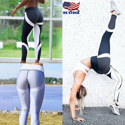62258ee2b7c WOMENS SPORT COMPRESSION Fitness Leggings Running Yoga Gym Pants Workout  Wear US