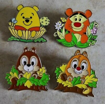 Pin Trading Disney Pins Spring Flowers Set of 4 Winnie the Pooh Tigger Chip Dale