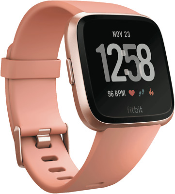 NEW Fitbit 4124450 Versa Smart Watch - Peach Rose Gold Aluminium