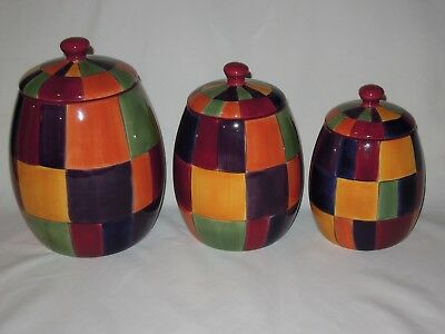 Tabletops Gallery Caracas 3 Piece Multi-color Canister Set