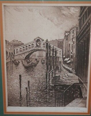 OLD antique Italian Venice Impressionist ETCHING vintage artwork Artist Signed