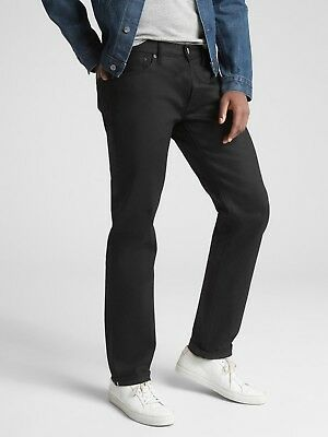 Gap $118.00 Selvedge Jeans in Straight Fit with GapFlex, Sz 31X30 Black rinse