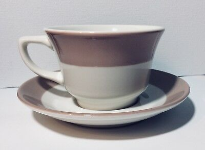 Homer Laughlin Greige and White Restaurant Ware Cup & Saucer set