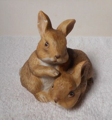 1980 Vintage Homco Two Brown Rabbits  #1455  Retired
