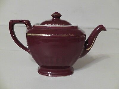 Hall Ceramic  6 cup Maroon with Gold Trim Highlights Teapot