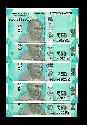 Rs 50/- LATEST Issue India Banknote x 5 Same Number (929292) GEM UNC UNIQUE