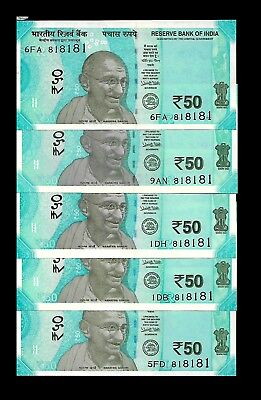 Rs 50/- LATEST Issue India Banknote x 5 Same Number (818181) GEM UNC UNIQUE
