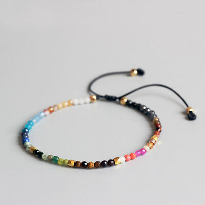 12 Constellation Lucky Stone 3mm Beads Hollywood Beaded Bohemia Bracelets Women