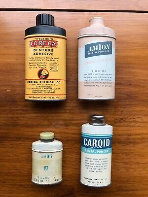 4 Different Tooth Powder Tins Sample Size