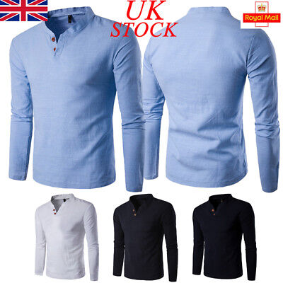UK V Neck Tops Tee Mens Slim Fit Plain T-Shirt Casual Long Sleeve Shirt Work Top