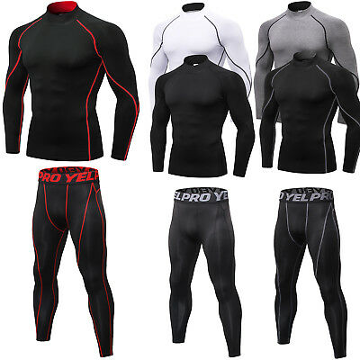 Mens Compression Pants Mock Neck Shirt Running Traing Legging Wicking Quick-dry