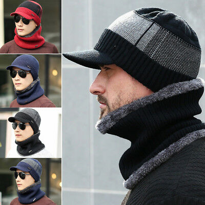 Men Camping Hat Winter Beanie Baggy Warm Wool Fleece Ski Cap + Scarf  Neckerchief 7554b0b91de