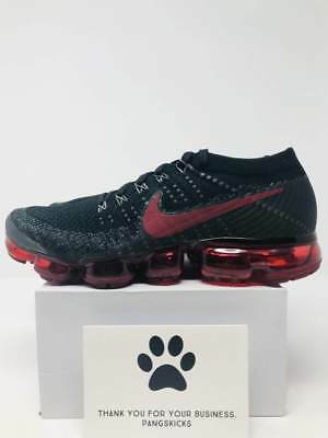 Nike Air VaporMax Flyknit 'Bred' Black Team Red 849558-013 Size 11-12