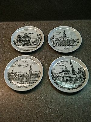 Rare Set Of 4 Vintage Porcelain Butter Pat Pats Or Coasters Luneburg Germany