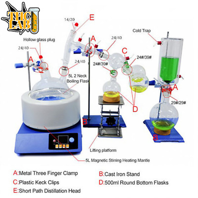 Lab Vacuum Jacketed 24/29 Head Short Path Distillation For THC Oil Extraction @