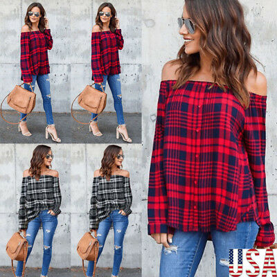 Women Long Sleeve Off-The-Shoulder Casual Blouse Shirt Plaid Check Autumn Top US
