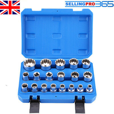 "19Pcs 1/2"" Drive 6 12 Point Hex Torx Splined Bit Socket Set Repair Tools w/ Case"