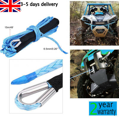 50FT 6.5MM Nylon Synthetic Winch Rope 6600 LBS Suits Self Recovery For SUV ATV