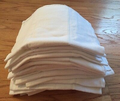 A Dozen (12) Prefold Pro Grade White Cotton Cloth Diapers Burp Polishing  Rag
