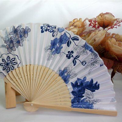 Portable Women's Hand Held Folding Fan Beautiful Satin Fan with Bamboo Frame AZ