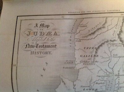 Antique Map of Judaea - Old Testament History Circa 1845