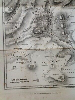 Antique Map of Land Of Moriah  - Old Testament History Circa 1845