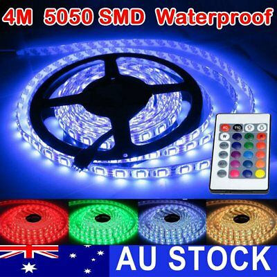 RGB LED Strip Lights IP65 Waterproof 5050 4M 300 LEDs 12V + 24 key IR Controller